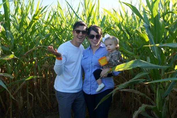 family in maze